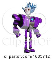 Bot Containing Humanoid Face Mask And Blood Tears And Heavy Upper Chest And Heavy Mech Chest And Blue Energy Fission Element Chest And Ultralight Foot Exosuit Purple Hero Pose