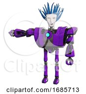 Bot Containing Humanoid Face Mask And Blood Tears And Heavy Upper Chest And Heavy Mech Chest And Blue Energy Fission Element Chest And Ultralight Foot Exosuit Purple