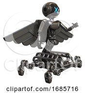 Bot Containing Digital Display Head And X Face And Light Chest Exoshielding And Ultralight Chest Exosuit And Pilots Wings Assembly And Insect Walker Legs Metal Interacting