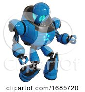 Cyborg Containing Grey Alien Style Head And Blue Grate Eyes And Heavy Upper Chest And Circle Of Blue Leds And Light Leg Exoshielding And Stomper Foot Mod Blue Fight Or Defense Pose