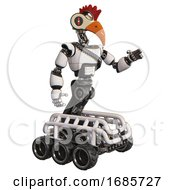 Robot Containing Bird Skull Head And Red Line Eyes And Chicken Design And Light Chest Exoshielding And Rubber Chain Sash And Six Wheeler Base White Interacting