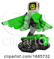 Mech Containing Old Computer Monitor And Pixel Design Of Yellow Happy Face And Red Buttons And Light Chest Exoshielding And Prototype Exoplate Chest And Pilots Wings Assembly And Tank Tracks Green