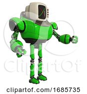 Automaton Containing Old Computer Monitor And Colored X Display And Red Buttons And Heavy Upper Chest And Ultralight Foot Exosuit Green Interacting