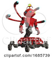 Droid Containing Oval Wide Head And Blue Led Eyes And Minibot Ornament And Light Chest Exoshielding And Prototype Exoplate Chest And Blue Eye Cam Cable Tentacles And Insect Walker Legs Red
