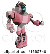 Robot Containing Digital Display Head And Three Horizontal Line Design And Led And Protection Bars And Heavy Upper Chest And Light Leg Exoshielding And Stomper Foot Mod Pink Interacting