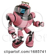 Robot Containing Digital Display Head And Three Horizontal Line Design And Led And Protection Bars And Heavy Upper Chest And Light Leg Exoshielding And Stomper Foot Mod Pink Fight Or Defense Pose