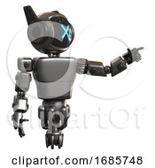 Mech Containing Digital Display Head And X Face And Winglets And Light Chest Exoshielding And Prototype Exoplate Chest And Jet Propulsion Metal Pointing Left Or Pushing A Button