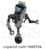 Android Containing Digital Display Head And Three Horizontal Line Design And Led And Protection Bars And Heavy Upper Chest And No Chest Plating And Unicycle Wheel Metal Fight Or Defense Pose
