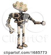 Droid Containing Techno Multi Eyed Domehead Design And Heavy Upper Chest And No Chest Plating And Ultralight Foot Exosuit Off White Interacting