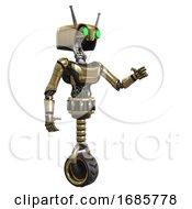 Robot Containing Dual Retro Camera Head And Cyborg Antenna Head And Light Chest Exoshielding And Ultralight Chest Exosuit And Unicycle Wheel Gold Interacting