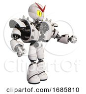 Droid Containing Grey Alien Style Head And Cats Eyes And Heavy Upper Chest And Heavy Mech Chest And Shoulder Spikes And Light Leg Exoshielding White Interacting