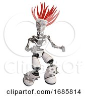 Cyborg Containing Humanoid Face Mask And Binary War Paint And Light Chest Exoshielding And No Chest Plating And Light Leg Exoshielding And Spike Foot Mod White Fight Or Defense Pose