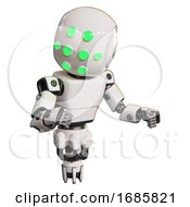 Bot Containing Round Head And Green Eyes Array And Light Chest Exoshielding And Prototype Exoplate Chest And Jet Propulsion White Fight Or Defense Pose