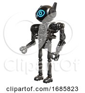 Robot Containing Digital Display Head And Large Eye And Winglets And Heavy Upper Chest And No Chest Plating And Ultralight Foot Exosuit Metal Facing Right View