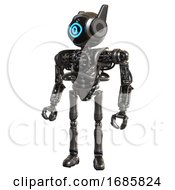 Robot Containing Digital Display Head And Large Eye And Winglets And Heavy Upper Chest And No Chest Plating And Ultralight Foot Exosuit Metal Standing Looking Right Restful Pose