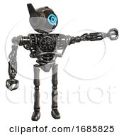 Robot Containing Digital Display Head And Large Eye And Winglets And Heavy Upper Chest And No Chest Plating And Ultralight Foot Exosuit Metal Pointing Left Or Pushing A Button