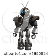 Android Containing Digital Display Head And Circle Eyes And Retro Antennas And Heavy Upper Chest And Heavy Mech Chest And Shoulder Spikes And Light Leg Exoshielding And Stomper Foot Mod Metal