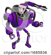 Robot Containing Humanoid Face Mask And Red Clown Marks And Heavy Upper Chest And Ultralight Foot Exosuit Purple Fight Or Defense Pose