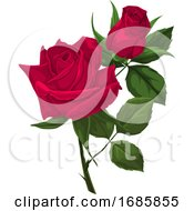 Poster, Art Print Of Vector Of Red Rose