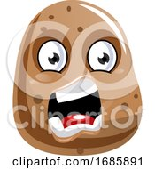 Angry Looking Brown Potato Illustration