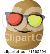 Cartoon Potato Wearing Sunglasses Illustration