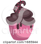 Pink Icecream Cup With Chocolate Icecream And Pink Sprinkles On Top