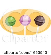 A Green A Violet And A Brown Lollipop