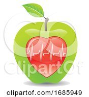 Poster, Art Print Of Green Apple For A Healthy Heart Illustration