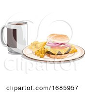 Tea Mug With Burger Meal