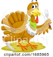 Poster, Art Print Of Thanksgiving Turkey Mascot Holding Silverware