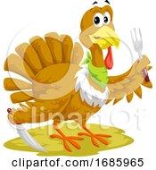 Thanksgiving Turkey Mascot Holding Silverware