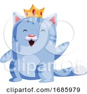 Light Blue Cat With A Golden Crown Smiling And Waving
