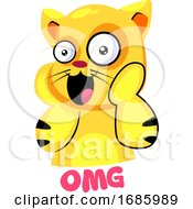 Yellow Suprised Cat Saying OMG