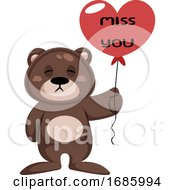 Brown Teddy Bear Holding Heart Shaped Balloon Saying Miss You