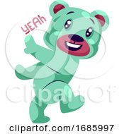 Happy Light Blue Teddy Bear Saying Yeah