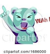 Joyful Blue Bear Holding Hand Up Saying Yeah