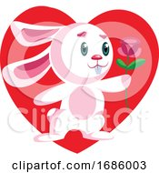Poster, Art Print Of Pink Bunny Holding A Dark Pink Rose