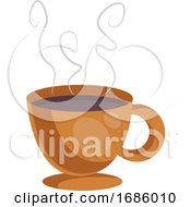 Poster, Art Print Of Orange Cup Of Coffe Vector Illustration On White Background