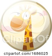 Cartoon Character Of A Yellow Giraffe With Brown Dots Smiling Vector Illustration In Light Grey Circle On White Background