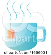 Poster, Art Print Of Light Blue Tea Cup Vector Illustration On White Background