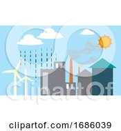 Different Renewable Energy Sources Illustration Vector On White Background
