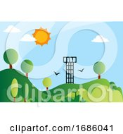 Solar Energy As A Renewable Energy Source Illustration Vector On White Background