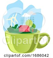 Illustration Of A Green Cup And Nature On Top Illustration Vector On White Background