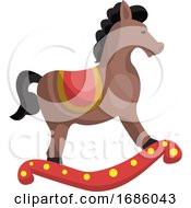 Poster, Art Print Of Cute Swinging Horse Vector Illustration On A White Background