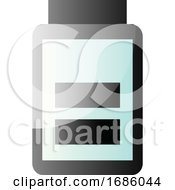 Vector Icon Illustration Of A Half Full Battery On White Background