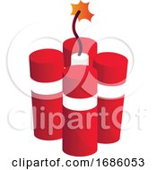 Four Red Granite Crackers Vector Illustration On A White Background