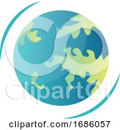 Rotating Planet Earth Vector Illustration On A White Background