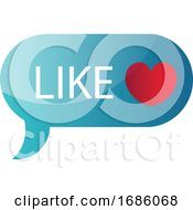 Poster, Art Print Of Blue Like Message Bubble Vector Icon Illustration On A White Background