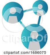 Simple Blue Vector Illustration Of A Networking Icon On A White Background