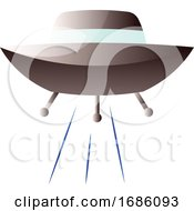 Vector Illustration Of A Grey Flying Space Ship On A White Background